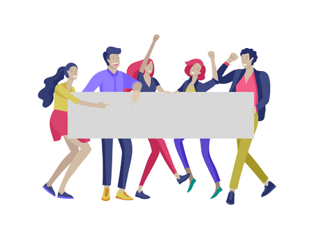 Illustration pour Business people moving, dancing and holding blank banner and stand. People taking part in parade or rally. Male and female protesters or activists. Modern vector illustration flat concepts character - image libre de droit