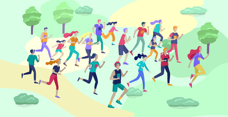 Ilustración de People Marathon Running Sport race sprint, concept illustration running men and women wearing sportswer in landscape. Jogging at Training. Healthy Active Speed Exercise. Cartoon Vector Illustration - Imagen libre de derechos
