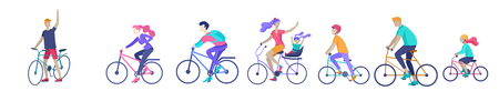 Illustration pour Young woman and man ride the bike, family and friends riding bicycles. Mom, dad and children on bike and cycling together. Sports outdoor activity. Cartoon vector illustration - image libre de droit