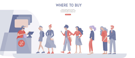 Illustration for People queue in supermarket with cashier, where to buy concept of customer and shop assistant. Selling interaction, purchasing process. Creative landing page design template - Royalty Free Image