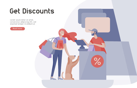 Illustration for People Shopping in supermarket. Woman in supermarket with cashier, where to buy concept of customer and shop assistant. Selling interaction, purchasing process. Creative landing page design template - Royalty Free Image