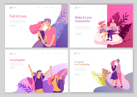 Ilustración de landing page template with Happy Lover Relationship, scenes with romantic couple online dating kissing, hugging, playing guitar, traveling. Characters Valentine day Set. Colorful vector illustration - Imagen libre de derechos