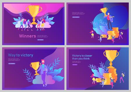 Ilustración de Landing page template set. Business Team Success hold Golden winner cup, concept of people are happy with victory. Office Workers Celebrating with Big Trophy, ways goals - Imagen libre de derechos