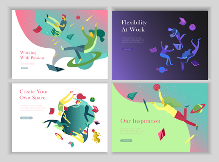 Ilustración de landing page templates set. Inspired People flying. Create your own spase. Characters moving and floating in dreams, imagination and freedom inspiration design work. Flat design style - Imagen libre de derechos