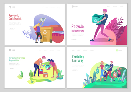 Ilustración de Landing page template with people Recycle Sort Garbage in different container for Separation to Reduce Environment Pollution. Family with kids collect garbage. Earth Day vector cartoon illustration - Imagen libre de derechos