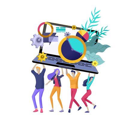 Ilustración de Team People moving. Business invitation and corporate party, design training courses, about us, expert team, happy teamwork. Flat characters design illustration - Imagen libre de derechos