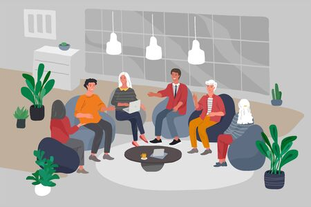 Ilustración de Office interior with group workers sitting and have teamwork meeting or brainstorming. Successful team gathering. Group of young people, startup company at workplace. Vector cartoon concept - Imagen libre de derechos