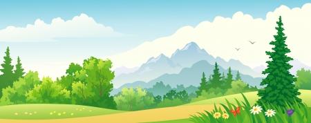 Illustration pour Vector illustration of a beautiful forest on the mountains  - image libre de droit
