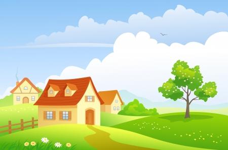 Illustration pour Vector illustration of a summer village  - image libre de droit
