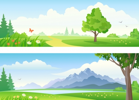 Illustration pour Vector beautiful landscape banners  - image libre de droit