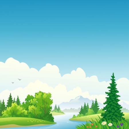 Illustration pour Vector illustration of a forest river. - image libre de droit