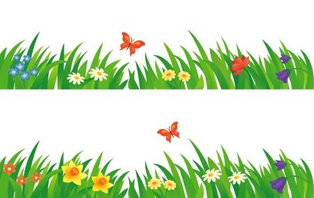 Illustration pour Vector set with summer grass and flowers. - image libre de droit