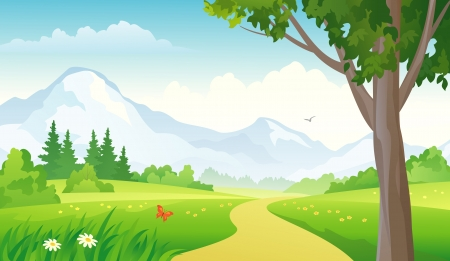 Illustration pour Vector illustration of a mountain landscape. - image libre de droit