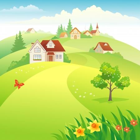 Vector illustration: beautiful village on the hills