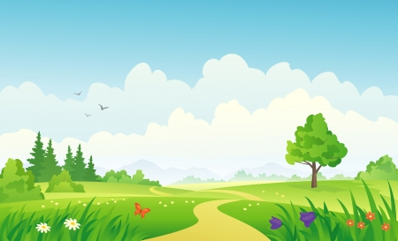Illustration pour Vector illustration of a summer landscape. - image libre de droit