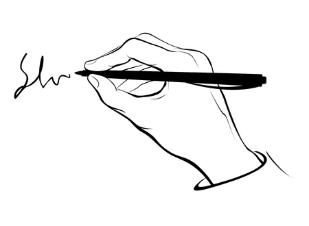 Vector stylized writing or signing hand.