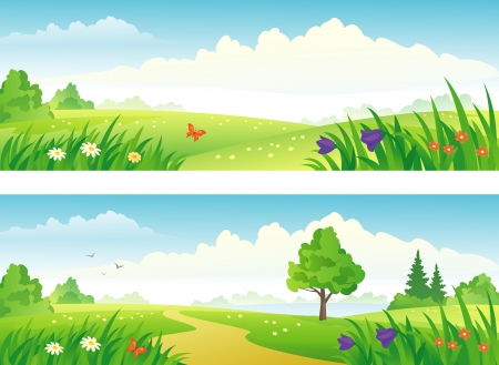 Illustration pour Vector beautiful landscape banners. - image libre de droit