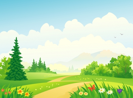 Illustration pour Vector illustration of a forest at the mountains  - image libre de droit
