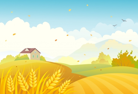 Illustration pour Vector illustration of an autumn farm landscape - image libre de droit