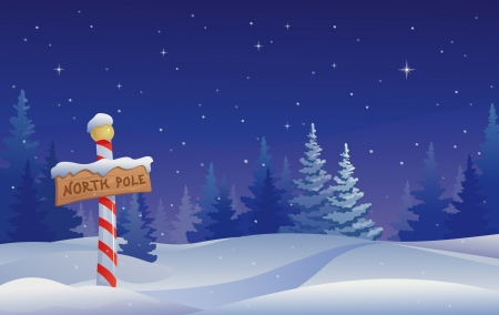 Illustration for Vector Christmas illustration with a North Pole sign  - Royalty Free Image