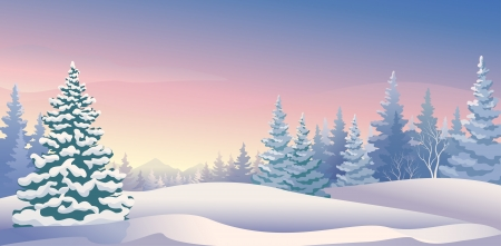 Illustration pour Vector illustration of a beautiful winter morning - image libre de droit