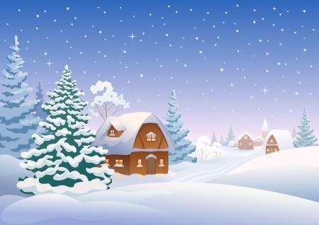 Illustration pour Vector illustration of a snow-covered village - image libre de droit