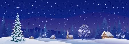 Illustration pour Vector illustration of a snowy winter village - image libre de droit