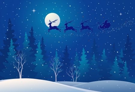 Illustration for Vector illustration of Santa s sleigh flying over woods - Royalty Free Image