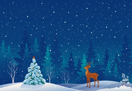 Vector illustration of a snowy xmas forest scene