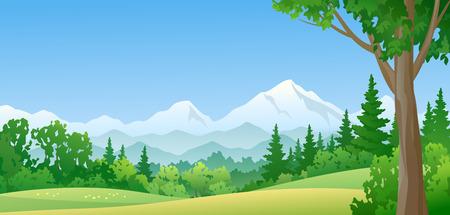Illustration pour illustration of a mountain forest - image libre de droit