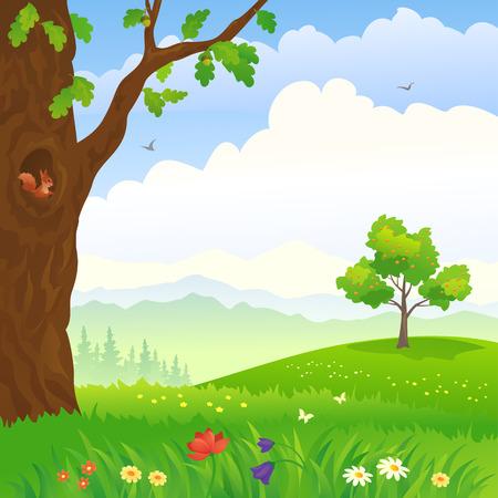 Illustration pour Vector illustration of a cartoon landscape with an oak and apple tree - image libre de droit