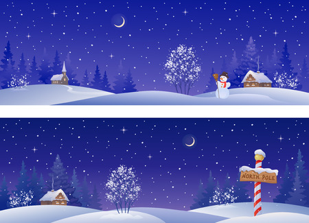 Illustration pour banners with snowy winter countryside - image libre de droit