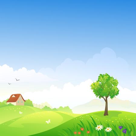 Illustration pour Vector illustration of a spring hilly landscape - image libre de droit