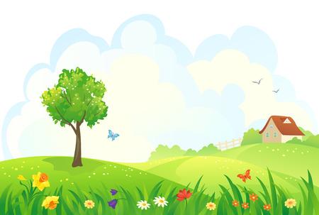 Illustration pour Vector illustration of a rural spring day - image libre de droit