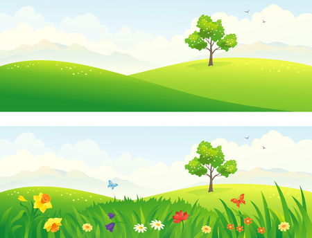 Illustration pour Vector illustration of green and blooming hills - image libre de droit