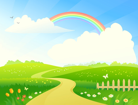 Foto per Vector illustration of a hilly landscape with a rainbow - Immagine Royalty Free