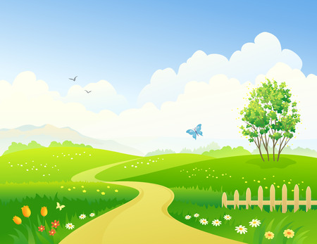 Illustration pour Vector illustration of a green landscape - image libre de droit