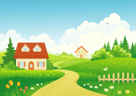 Illustration pour Vector illustration of a rural landscape - image libre de droit