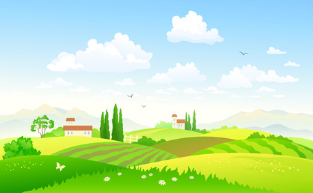 Illustration pour Vector illustration of a beautiful green hilly countryside - image libre de droit