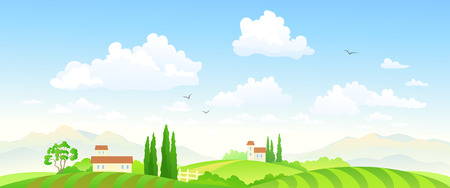 Vector illustration of a beautiful green farm landscape