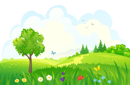 Illustration pour Vector illustration of beautiful green woods - image libre de droit