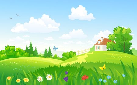 Ilustración de Vector illustration of a summer landscape with a home - Imagen libre de derechos