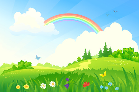 Illustration pour Vector illustration of a beautiful summer landscape with a rainbow - image libre de droit