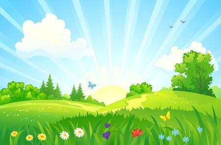 Illustration pour illustration of a summer sunrise landscape - image libre de droit