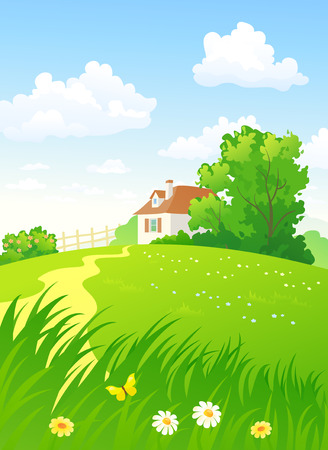 Illustration pour Summer countryside vertical - image libre de droit