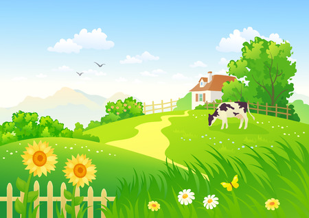 Illustration pour Rural scene with a cow - image libre de droit