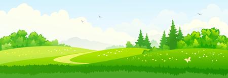 Illustration pour Vector illustration of green summer woods - image libre de droit
