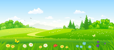 Illustration pour Vector illustration of beautiful summer forest fields - image libre de droit