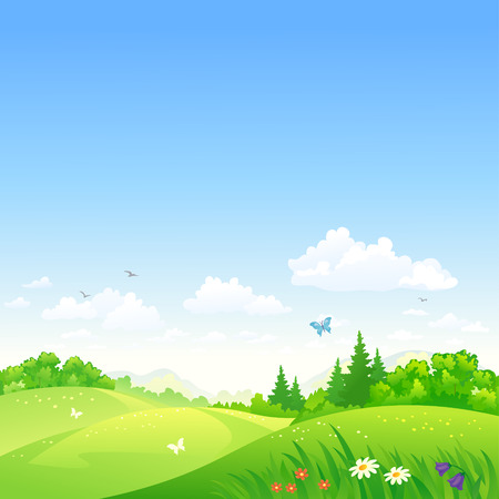 Photo pour Vector illustration of a summer rolling landscape - image libre de droit