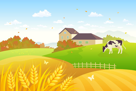 Illustration pour Vector illustration of a beautiful fall countryside scene with a grazing cow and wheat fields - image libre de droit